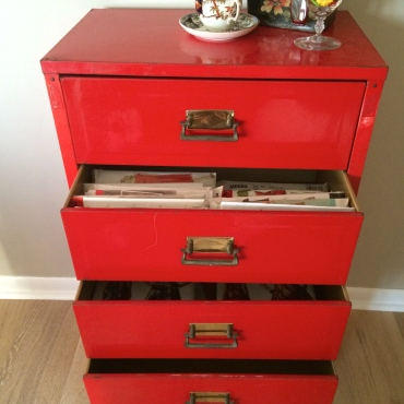 Old file cabinet, perfect for patterns!