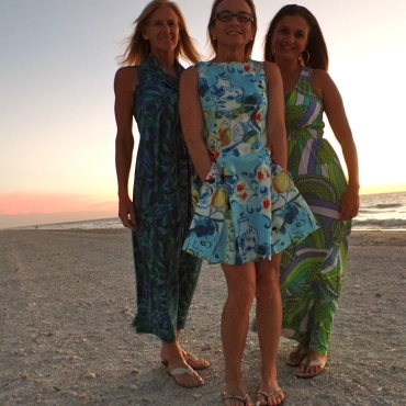 Collyn (in my Sea Glass dress) Melinda (in my Gallery Hop dress) and Irma in Trina
